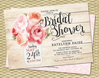 Bridal Shower Invitation, Mason Jar Invitation, Floral Bridal Shower Invite, Pink Peonies Rustic Bridal Shower Invitation, ANY EVENT