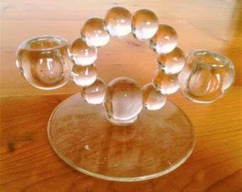 Vintage Imperial Candlewick Clear Glass Double Lite Candleholder