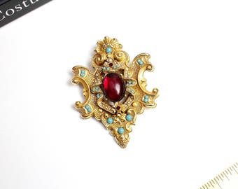 Vintage ART  Heraldic  Style Shield   Brooch/ Pendant  with large Red cabochon, faux turquoise  and faux pearls #1632