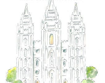 Salt Lake Temple AZ212 - LDS Temple - Watercolor Print - LDS Wall Art - Painting - Alexa Z Design -