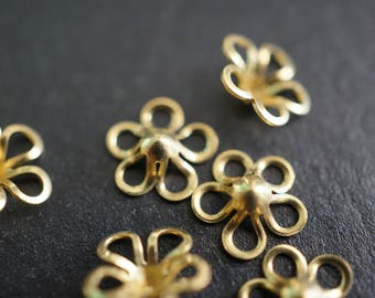 Raw Brass Five Petals Cherry Blossom Sakura Flower Bead Cap Charms (Small) 6mm - 20 pieces