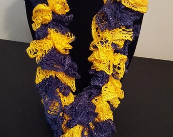 Blue and Yellow Handmade Crochet Scarf