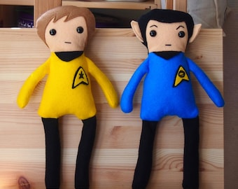 "Star Trek Inspired Kirk & Spock Felt Cuddly Toys/Rag Dolls 33cm (13"") tall"