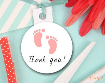 Pink Baby Shower Favor Labels, Baby Girl Thank You Tags, Baby Shower Favor Tags, Baby Shower Thank You Tags, Thank You Labels LF6