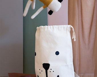Bear fabric bag storage of toys books or teddy bears - Kids interior