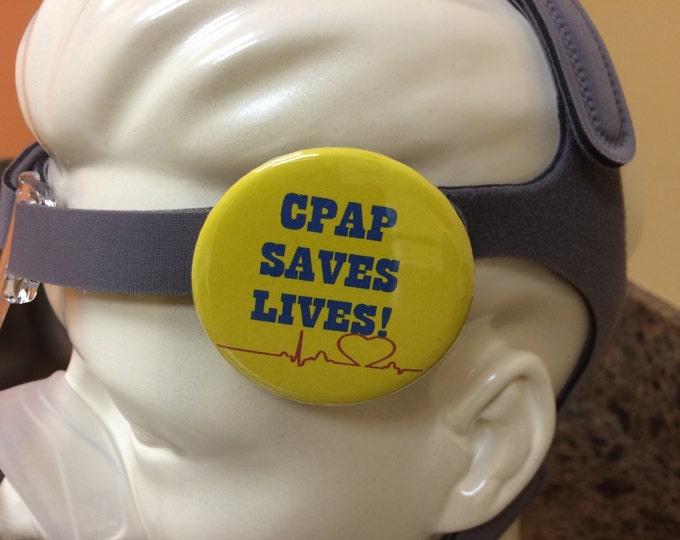 Pin-back button-CPAP saves lives, sleep apnea button, sleep tech button, sleep tech pin, sleep lab button, cpap pin