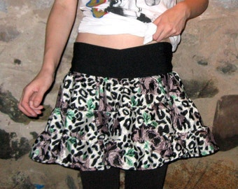 Eco Friendly Grey Leopard Scrap Silky Mini Skirt Small/Medium by Vicmes Clothing