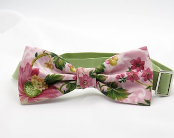 Mens Floral Bow tie, Pink Spring  Bowtie, Pre tied Bow Tie, Flowery Bow Tie, Summer Wedding Bow tie, Bow tie for Groomsmen, BowTie for Groom