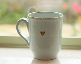 Unique Coffee Mug, light blue & Gold Mug, Large Mug, Coffee Lovers Gift, Heart Pottery Cup, Ceramic Drinkware, Valentine Day gift