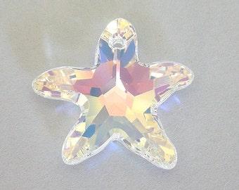 1 Swarovski crystal AB 20mm starfish pendant, Swarovski AB star