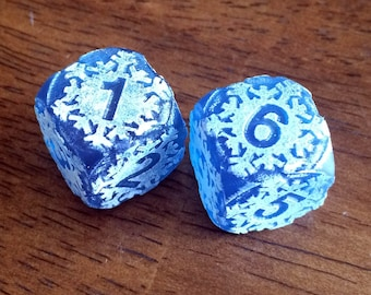 Engraved Frosted Snowflake Dice - Ice Version - for Tabletop Gaming
