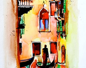 Venice Italy Original Watercolor Painting - Travel Illustration by Lana Moes - Wanderlust - Roman Holiday - Romantic Bliss Collection