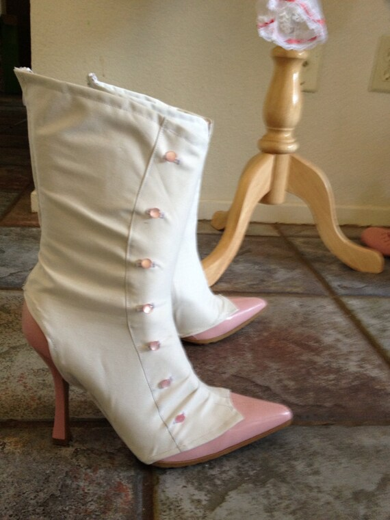 Mary Poppins Jolly Holiday White Spats Boot Covers Pink