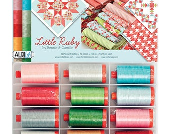 Little Ruby Aurifil Thread Collection - 12 Large Spools, 50 wt, 1422 Yards each spool, Bonnie and Camille Thread Collection