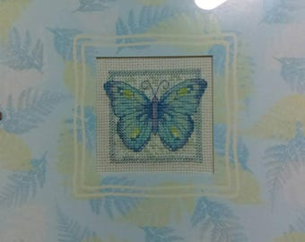 """Butterfly Matted and Framed Cross Stitched Picture 8"""" X 8"""""""