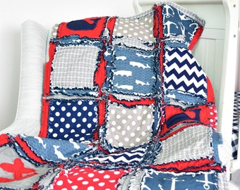 Nautical Baby Boy Rag Quilt - Navy / Red / Gray