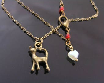 Cat Necklace, Cat Lover Gift, Cat Charm Necklace, Charm Jewelry, Handmade Necklace, Handmade Jewelry, Bronze Necklace, N2048