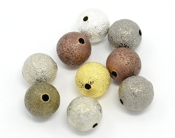 50 Stardust Beads 8mm - Mixed Color Brass Beads - BD750