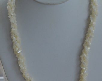 "Mother of Pearl Beaded Twist Necklace, Vintage, 22"" (X1)"