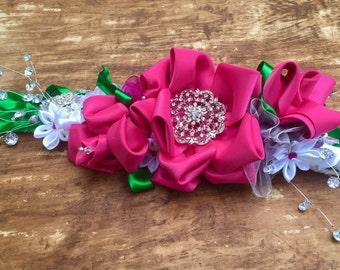 Custom Wedding Dog Collar, Pet Wedding Accessory, Flowered dog collar, wedding pet, wedding collar, Ribbon Flower Collar, dressy dog collar
