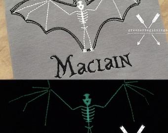 Bat Shirt / Glow in the Dark Shirt / Bat Applique / Personalized Bat Shirt / Halloween Shirt / Boy Halloween Shirt / Toddler Halloween