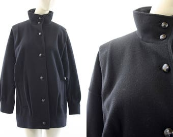 J. Gallery Vintage Woman's 80's Funnel Neck Black Wool Coat