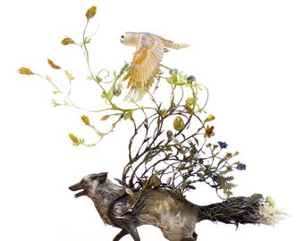 """the complexity of our task at hand - silver fox and barn owl - Original Giclee Edition Print - 13x19"""""""
