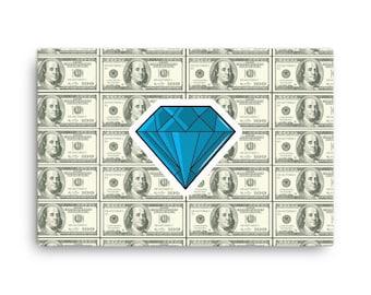 Vintage Diamond Tattoo on Dollar Bills Money Art Canvas