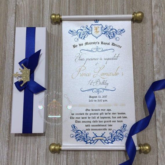 Royal Blue Prince Scroll Invitation Birthday Wedding