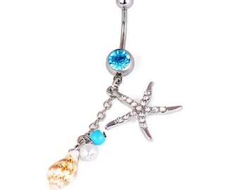 Starfish and Sea Shell Belly Button Ring