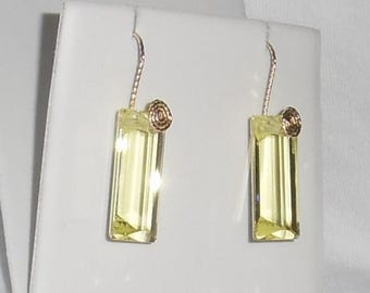 31 cts Natural Square mix Lemon Quartz gemstones, 14kt yellow gold Pierced Earrings
