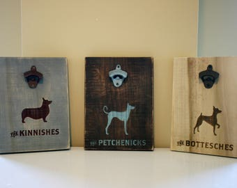Custom Dog Engraved Bottle Opener | Wall Mounted | Wood Engraving | Rustic | Antiqued | Dog Decor | Bar | Man Cave | Taproom | Brewery