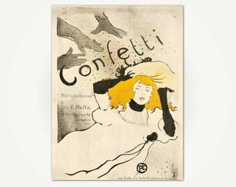 Confetti Toulouse-Lautrec Vintage Advertising Poster Print - Vintage Toulouse-Lautrec Poster