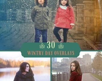 30 Wintry day overlays, winter textures, rain texture, rain overlays, photoshop overlays, digital backdrop, rain drops, rain effect, Rainy