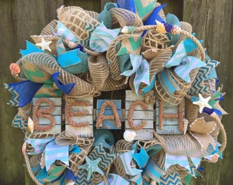 coastal doors southernthrills mesh wreaths deco pinterest burlap wreath best outdoor door summer on images fish