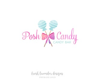 Candy Logo, Custom Logo Design, Watercolor Candy, Candy Shop Logo, Sweets Logo, Affordable Logo, Lollipop Logo, Watermark, Logo Designer