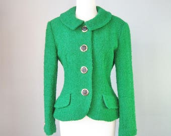 Green Blazer / Vtg 80s / Teri Jon Kelly Green Wool Blazer
