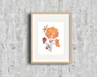 Limited Edition! Golden Orange Geums - Strong Flower - Terracota ,  Mother's day gift, Art Gift, Give Art