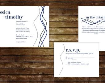 Twisted Lines Printable Wedding Invitation Suite, Wedding Invitations, Digital Invitations, Custom Invitations, Printable Wedding Invitation