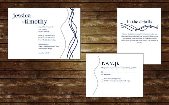 Twisted Lines Wedding Invitation Suite, Wedding Invitations, Digital Invitations, Custom Invitations