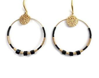 Black and gold hoop earrings