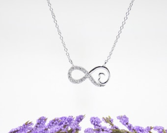 Heart & Infinity Necklace Cz Gold Vermeil 925 Silver, Yellow Rose