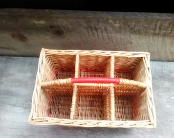 Weaved Wicker Storage Basket Organizer With Handle, Inv.#962