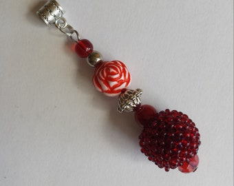 """Pendant 1 """"Pearl Red Rock + glass beads and acrylic""""-2.2x7.5cm"""