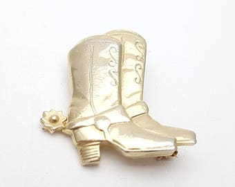 Vintage Cowboy Boots Brooch Gold Tone Metal Retro Rodeo Cowgirl Far West Costume Western Country Festival