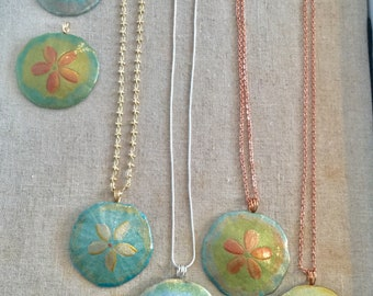 Hand painted Sand dollars from Maine.  (Necklace)