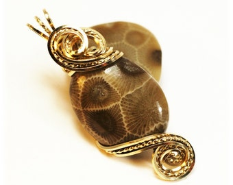 Petoskey Stone / Petoskey Stone Jewelry / Wire Wrapped Jewelry / Lake MI Petoskey Stone