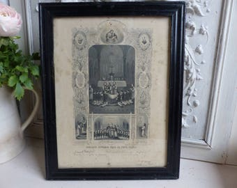 Antique french black and white lithograph first communion certificate. Dated May 1906. Jeanne d'Arc living. French Nordic. Christian decor