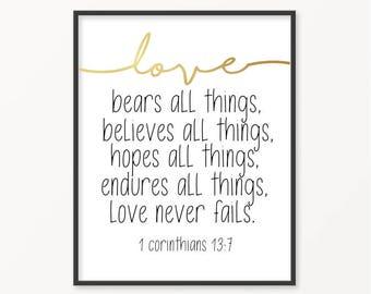 1 Corinthians 13:7, Love Never Fails, Gold Foil Print, Scripture, Bible Verse