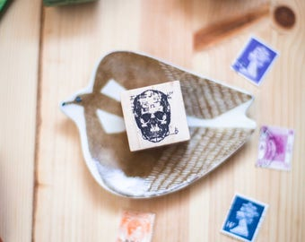 Anatomy series: Skull Face - decorative wooden planner stamp suitable for planning, journaling and happy mail -SFW-